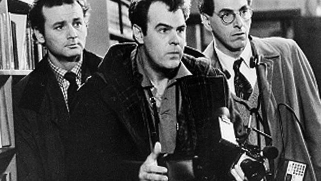 """FILE - In an undated file photo, Bill Murray, Dan Aykroyd, center, and Harold Ramis, right, appear in a scene from the 1984 movie """"Ghostbusters"""". Harold Ramis died early Monday, Feb. 24, 2014, in Chicago from complications of autoimmune inflammatory disease, according Fred Toczek , an attorney for Ramis. He was 69. (AP Photo, File) ORG XMIT: NY112"""