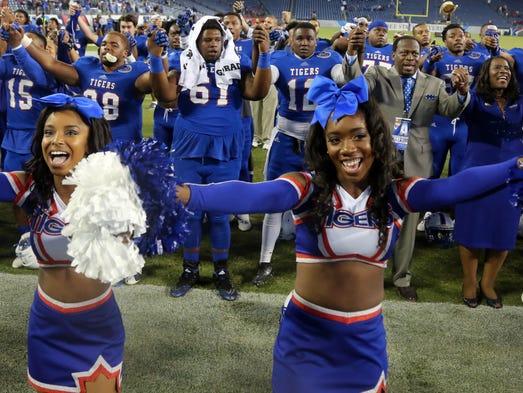 TSU celebrates their victory over Eastern Kentucky