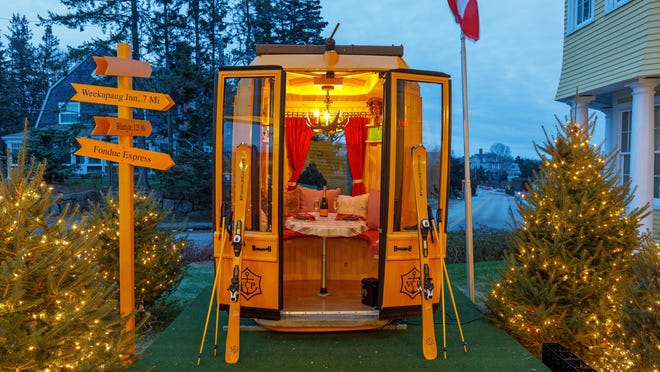 A look inside one of the Vermont Ski gondolas at Ocean House's Fondue Village, a luxury experience that will be offered throughout the fall and winter.
