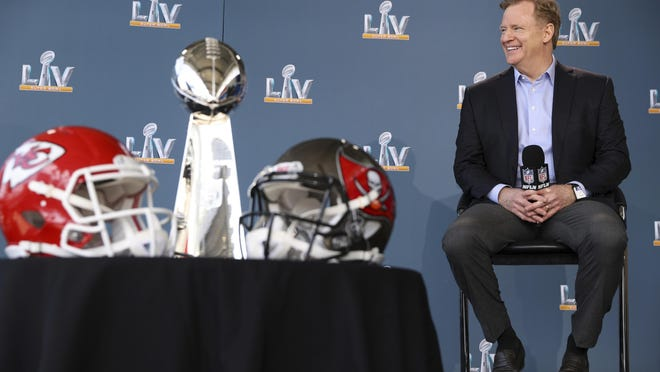NFL football commissioner Roger Goodell speaks at a press conference ahead of Super Bowl 55, Thursday, Feb. 4, 2021, in Tampa, Fla.