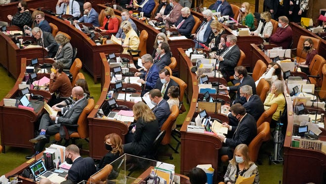 The Utah House of Representatives works Friday night in Salt Lake City as the Legislature wraps up its business for the year.