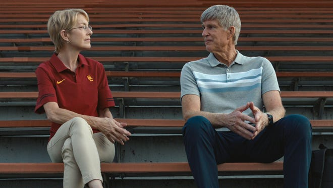 """Penelope Ann Miller, left, and Matthew Modine in a scene from the Netflix film """"Operation Varsity Blues: The College Admissions Scandal."""""""