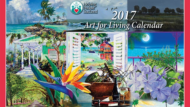 The Elliott Museum, on Hutchinson Island, is featuring art work from 13 area artists for Helping People Succeed's 2017 Art for Living Calendar. The exhibit is on display to the public through Nov. 16. Dave Basom is the designer and layout artist for the calendar cover.