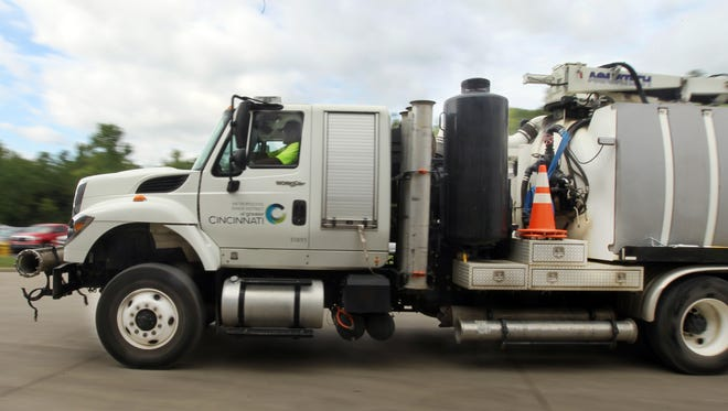 Melvin Lawson drives a flush vac truck, the largest vehicle in the Metropolitan Sewer District fleet from the agency's Carthage location.