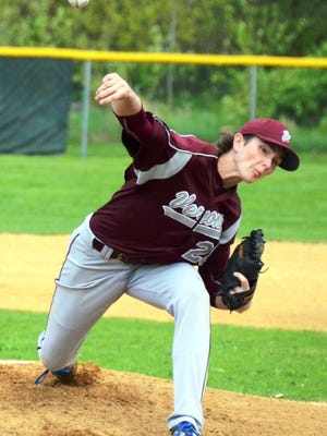Verona High School junior pitcher Collin Kiernan delivers a pitch in the first inning of Verona's GNT opening round game at Bloomfield Middle School Monday, May 9.