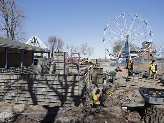 Construction workers have begun building a new concession stand at Bay Beach Amusement Park  in Green Bay. The new stand will be nearly twice the size of the old one, which was torn down.