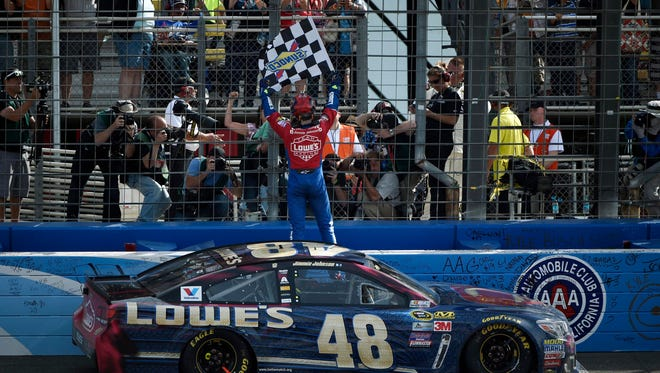 Jimmie Johnson scored his sixth career victory at Auto Club Speedway last March.