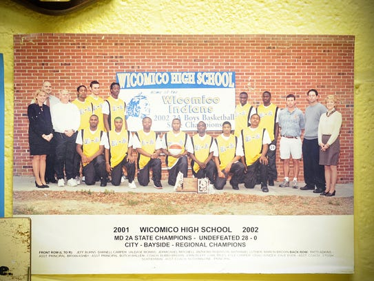 A photo of Wi-Hi's 2002 state championship team hangs