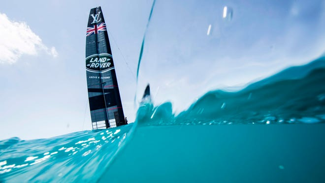Land Rover BAR skippered by Ben Ainslie races during the 35th America's Cup Challenger Playoffs Semifinals on June 4 in Bermuda's Great Sound.