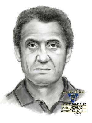 The Oradell Police Department is seeking the public's help in finding this man, described as a white male with brown hair in his 60s, who is wanted for attempting to lure a female juvenile into his vehicle on Tues., July 4, 2017, on Maple Avenue. This facial composite was drawn by a forensic artist with the New Jersey State Police.