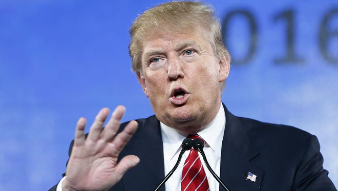 In this July 11, 2015, photo, Republican presidential candidate Donald Trump speaks at FreedomFest in Las Vegas.