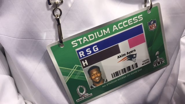 Former Titans linebacker Akeem Ayers' name was spelled incorrectly on his credential at Super Bowl media day on Tuesday.