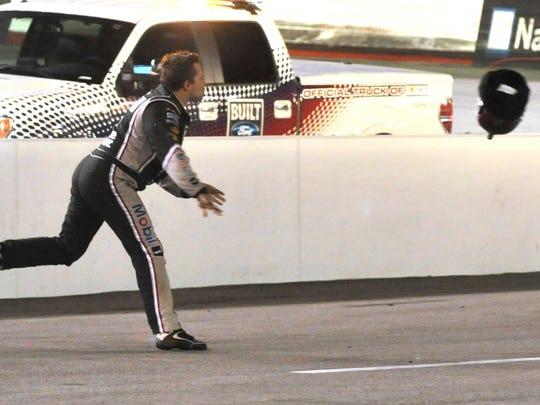 8-10-2014 tony stewart throws helmet