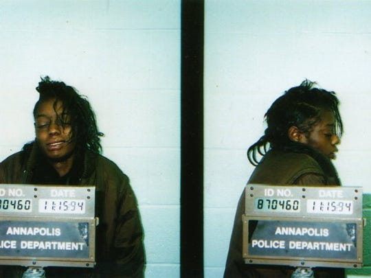 A mugshot from the Annapolis Police Department in Maryland shows Tonier Cain on Nov. 15, 1994. Cain blames childhood victimization for her crack addiction, 19 years living on the streets and 83 arrests. Her life was transformed after she was treated for her childhood trauma, Cain says.