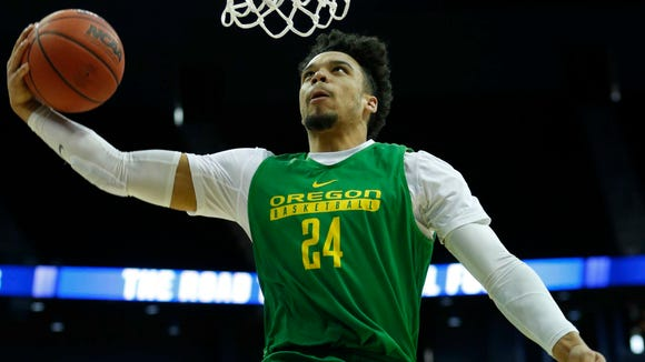 Mar 22, 2017; Kansas City, MO, USA; Oregon Ducks forward Dillon Brooks (24) during practice the day before the Midwest Regional semifinals of the 2017 NCAA Tournament at Sprint Center.