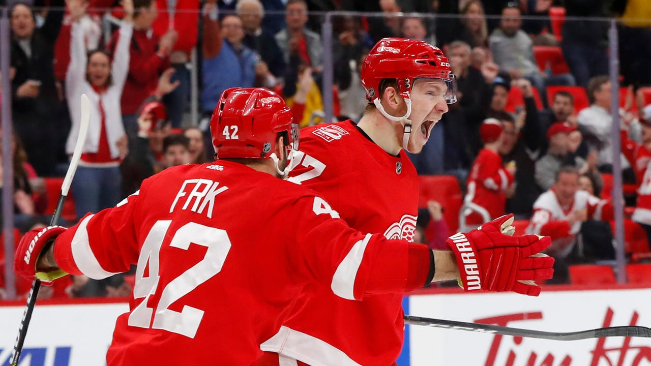 Detroit Red Wings forwards Martin Frk and Evgeny Svechnikov talk to the media on March 22, 2018.