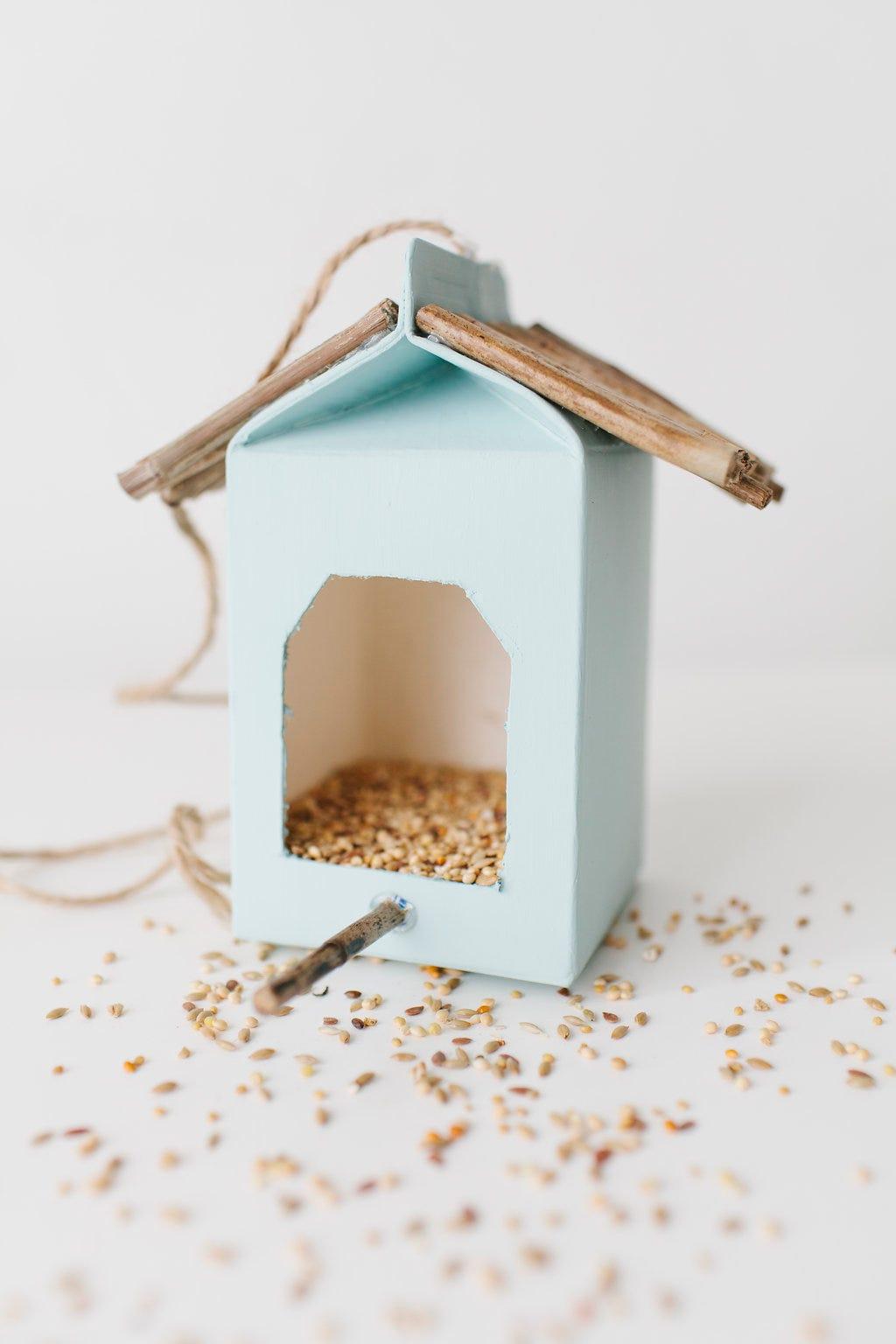 Turn A Used Juice Or Milk Carton Into A Birdhouse.