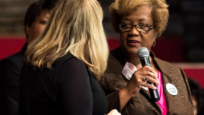 """Paulette Coleman, right, speaks with Mayor Megan Barry, left, during the Nashville Organized for Action and Hope's """"Speak Loudly, Nashville!"""" event at The Temple Church in Nashville on Oct. 29, 2017."""