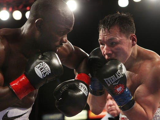 action between Timothy Bradley Jr.and Ruslan Provodnikov for the WBO Welterweight Championship at the Home Depot Center in Carson, California. Bradley won by unanimous decision.