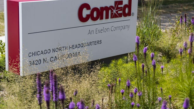 A ComEd headquarters building, July 17, 2020 in the 3400 block of North California Avenue in Chicago.