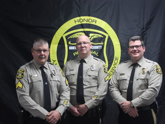 From left: Sgt. Jack Asper, Cpl. Christopher Irvin and Chief Mark Bentzel. Northern York County Regional Police said Asper was promoted from corporal and Irvin was promoted from patrol officer at a recent ceremony.