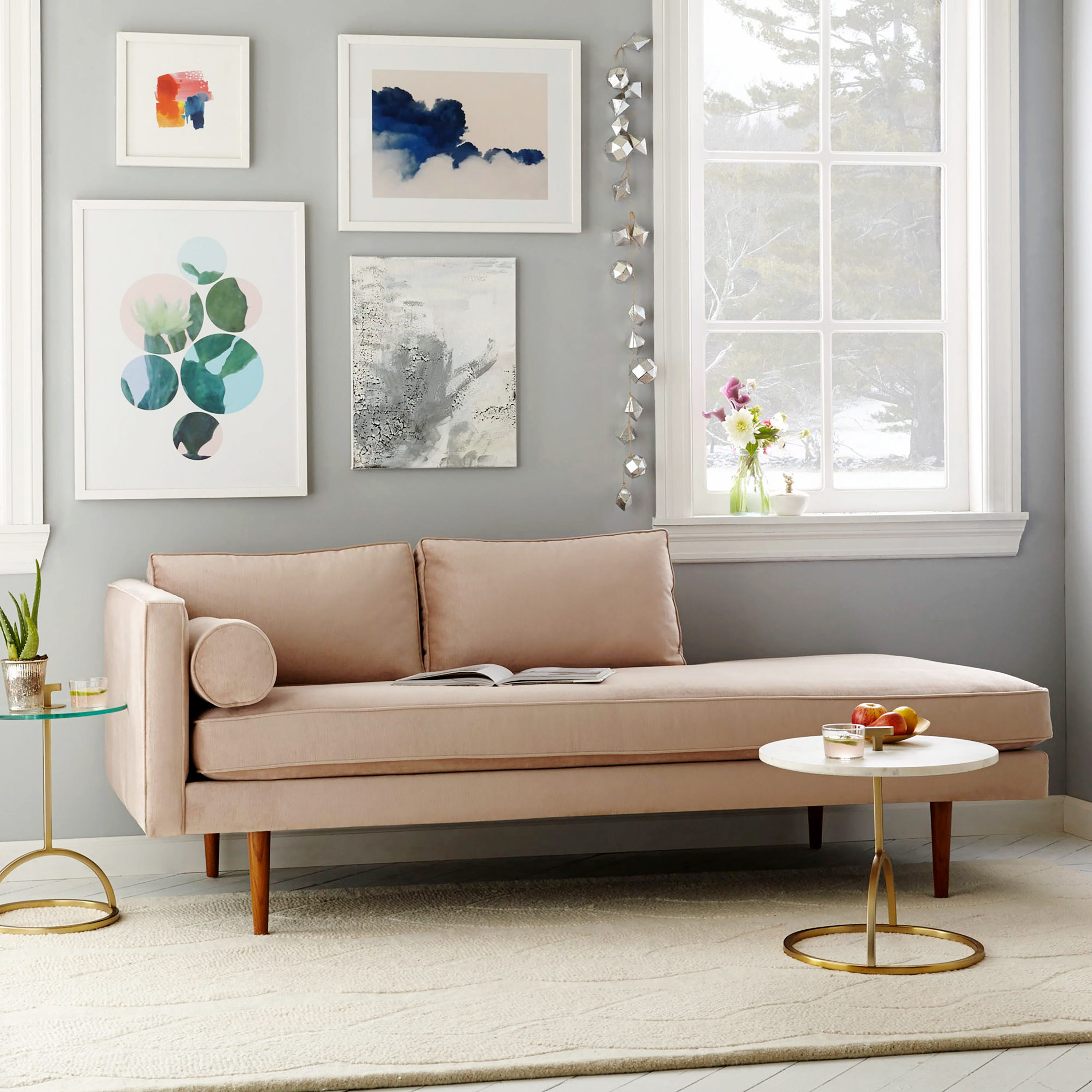 The Monroe Mid Century Chaise Lounger In Dusty Blush