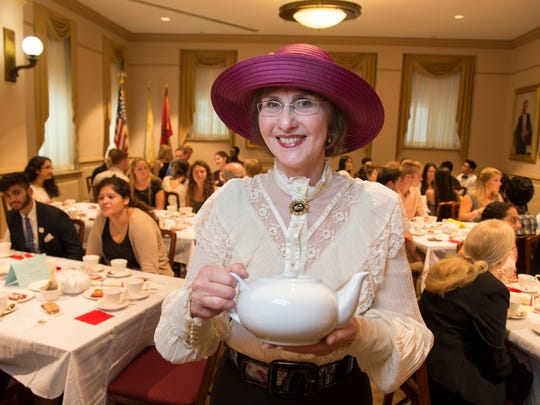 Judith Krall-Russo, food historian and tea specialist, led students in a formal tea service at Winants Hall, which served as Rutgers first dorm.