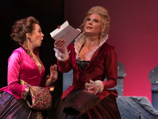 Mistress Margaret Page (Saluda Camp) and Mistress Alice Ford (Caralyn Kozlowski) begin planning their mischief.