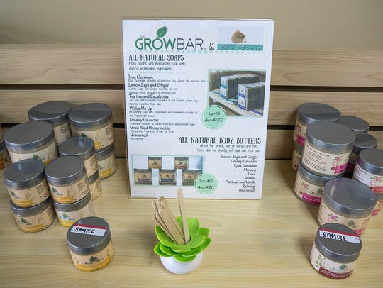 Locally produced soaps and body butters on the shelves