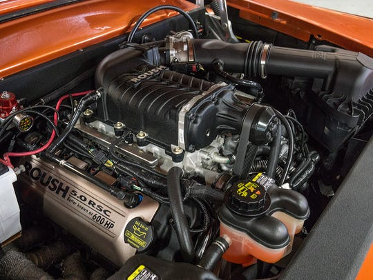 A Roush 5.0-liter, supercharged crate engine puts out