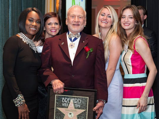 2016 Brevard Walk of Fame Honoree Dr. Buzz Aldrin poses