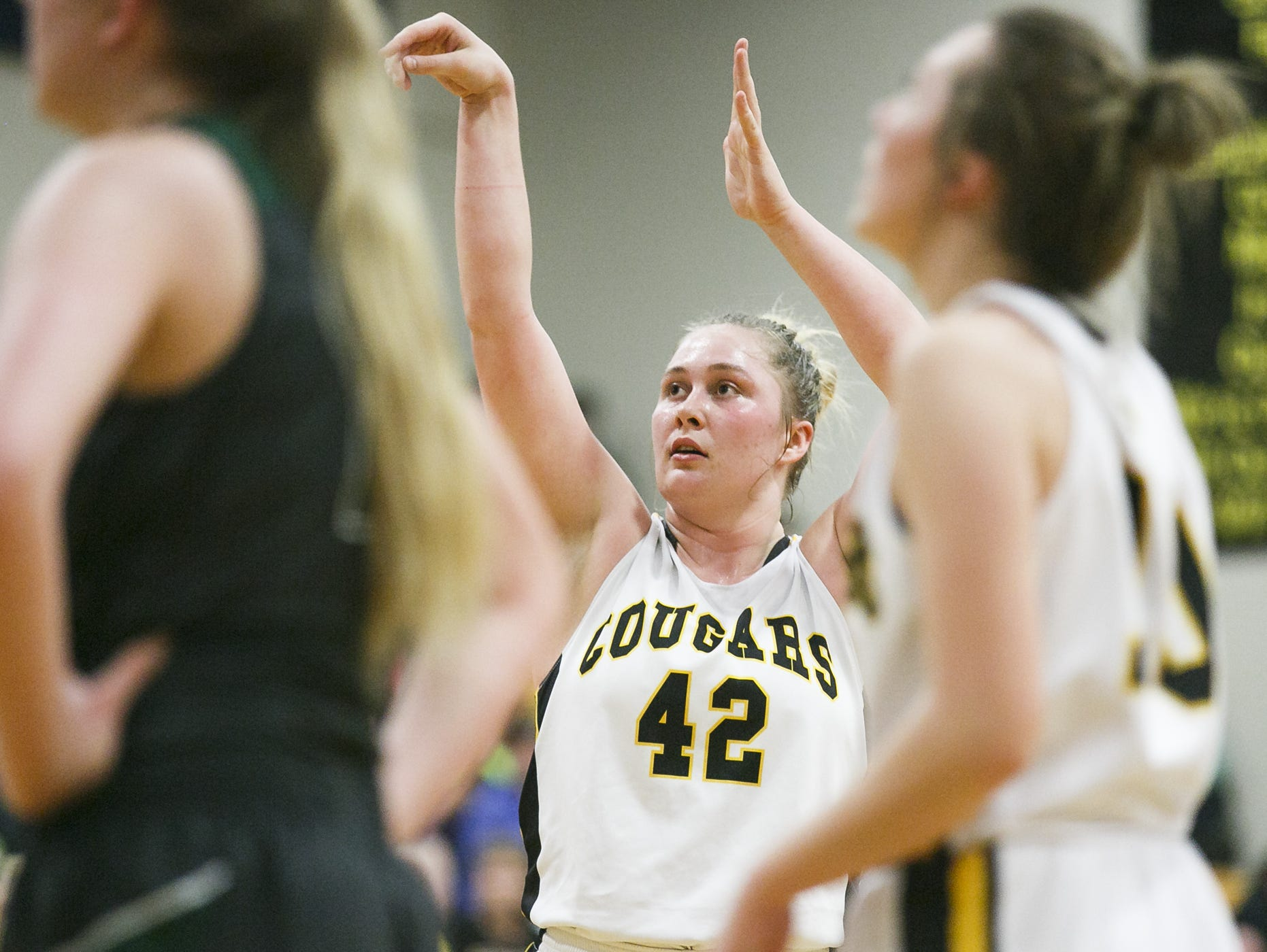 Cascade's Halle Wright (42) shoots a free throw in a game against North Marion on Tuesday, Feb. 21, 2017, at Cascade High School. Cascade won the game 53-37, sweeping the Oregon West Conference for the third consecutive year.