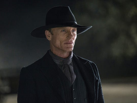 "Ed Harris portrays the Man in Black, in a scene from the HBO series, ""Westworld."" The 10-episode season premieres Sunday at 9 p.m. EDT. (John P. Johnson/HBO via AP)"