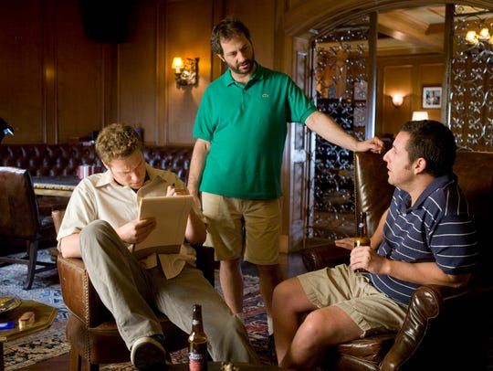 Judd Apatow, center, dipped back into standup comedy