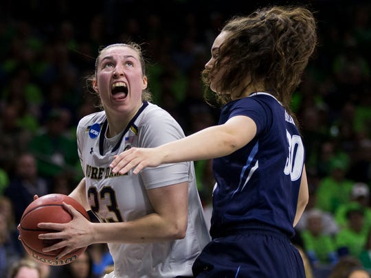 Notre Dame's Jessica Shepard (23) looks for a shot