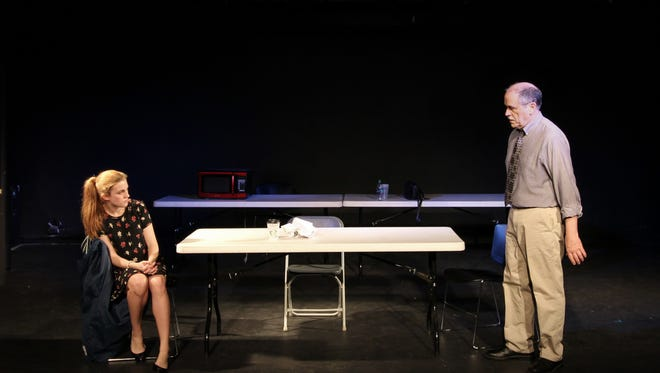"Fiona Battersby and Tony Isbell in Quark Theatre's production of ""Blackbird,"" through March 26 at TheatreSouth."