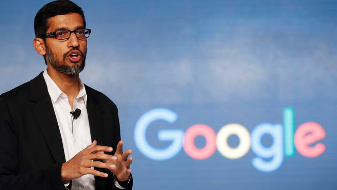 In this Wednesday, Jan. 4, 2017, photo, Google CEO Sundar Pichai speaks during a news conference on Google's collaboration with small scale local businesses in New Delhi. U.S. tech companies fear the Trump administration will target a visa program they cherish for bringing in engineers and other specialized workers from other countries. Although these visas, known as H-1B, aren't supposed to displace American workers, critics say safeguards are weak. This comes amid a temporary ban on nationals of seven Muslim-majority countries from entering the U.S., including those who are employed by Google and other tech companies but were out of the country when the surprise order was issued Friday, Jan. 27.