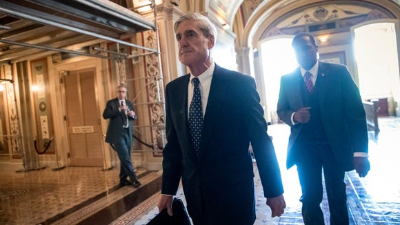In this June 21, 2017, file photo, special counsel Robert Mueller departs after a closed-door meeting with members of the Senate Judiciary Committee on Capitol Hill.