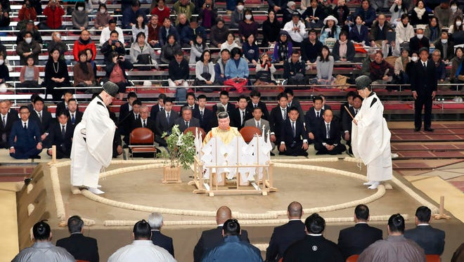 In this Nov. 11, 2017, photo, a Shinto ceremony is held to pray for the safety of sumo wrestlers before the start of the Kyushu Grand Sumo tournament in Fukuoka, southwestern Japan.