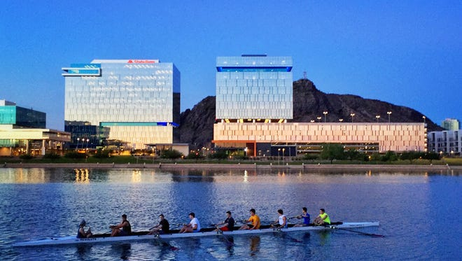 Early-morning rowers hit Tempe Town Lake on Sept. 6, 2016. Daily high temperatures in Phoenix were projected to remain under 100 degrees for the remainder of the week, and only a few more triple-digit highs were expected this year, according to the National Weather Service.