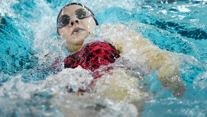Dover's Grace Beierschmitt swims the backstroke leg of the 200 individual medley in this YDR file photo.
