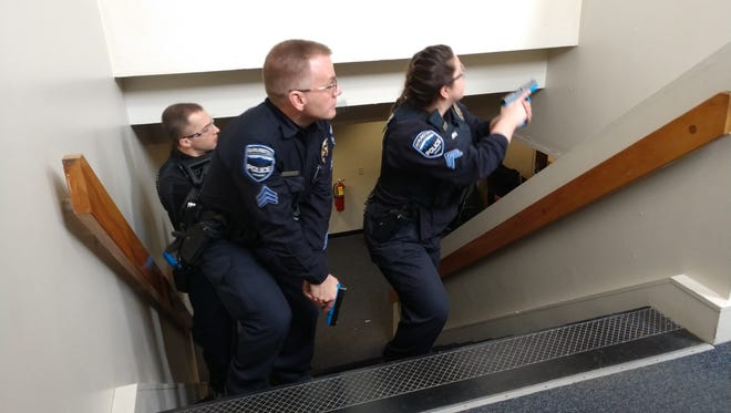 Burlington police officers trained in April to respond in teams and as individuals to school shooting scenarios in April 2018.