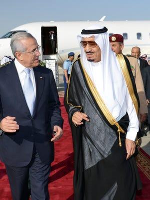 Saudi's Crown Prince Salman bin Abdul Aziz al-Saud, right, welcomes Lebanese President Michel Sleiman upon an arrival for an official visit earlier this month in Riyadh, Saudi Arabia.