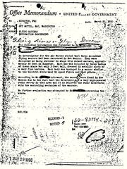 "This 1950 document shows a Federal Bureau of Investigation report of ""flying saucers"" in New Mexico sent to then-Director J. Edgar Hoover in 1950. The document has become the FBI's most popular file in the bureau's electronic reading room."