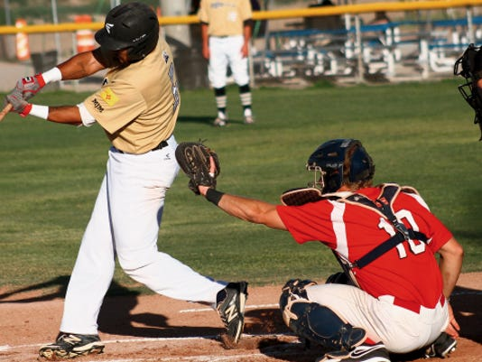Aaron Nardone hits a home run Thursday at the Griggs Sports Complex.