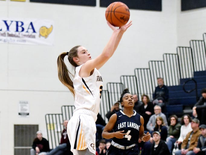 Grand Ledge's Makenzie Todd scores on a jump shot during