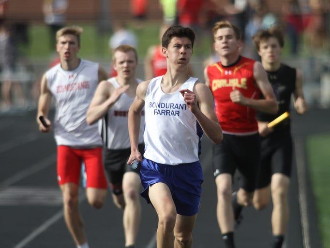 Bondurant-Farrar's Seth VanBaale leads the pack on