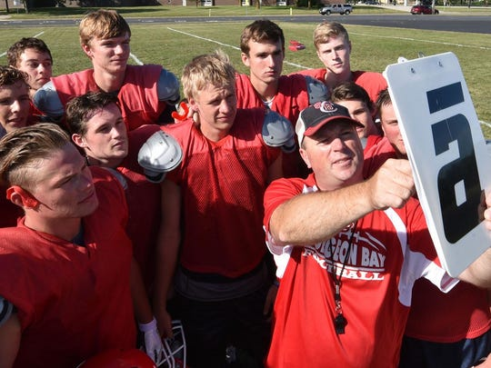 Sturgeon Bay coach Mike LeRoy sets up a play during a 2016 practice.