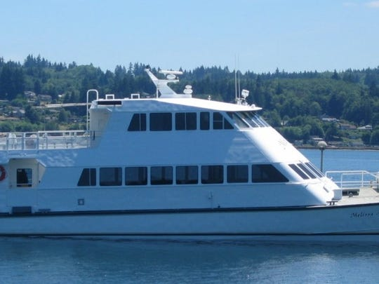 The M/V Melissa Ann at a dock. Kitsap Transit leased the vessel from Four Seasons Marine Services to serve as a backup on the Kingston-Seattle route.
