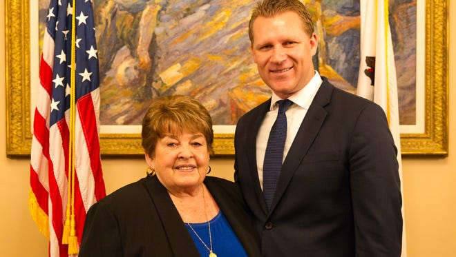 Republican Assembly Leader Chad Mayes of Yucca Valley named Nancy Williams Huntington as his district's woman of the year.